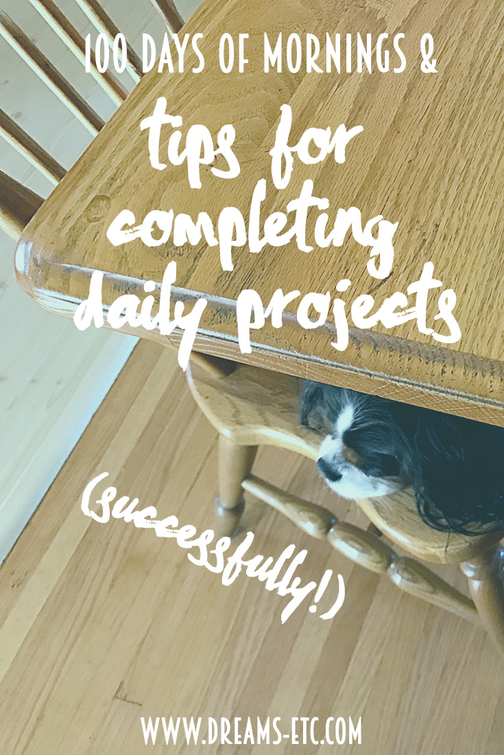 An update on 100 Days of Mornings as part of the #100DaysProject AND tips for making daily projects a success! // dreams-etc.com