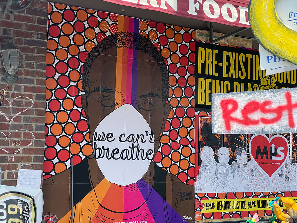 We can't breathe mural outside of Cup Foods in Minneapolis.